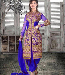 Buy Blue georgette embroidered semi stitched salwar with dupatta patiala-salwar online