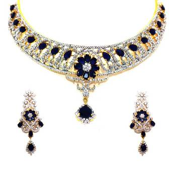 Diamond Necklace Set with Blue Sapphire Stones