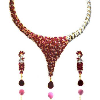 Elegant Ruby Necklace with Matching Danglers