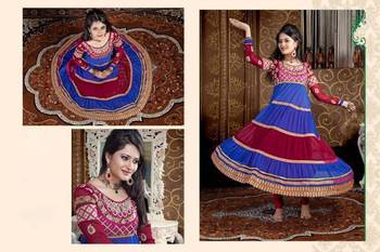 Blue and maroon embroidered salwar suit