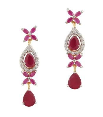 Long Pink & Red Chandelier Earrings