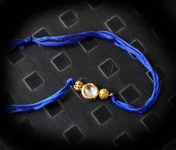 Blue Kundan Gold Rakhi