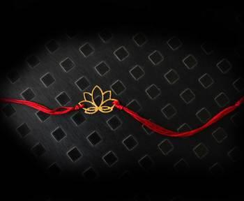 Red And Gold Lotus Rakhi
