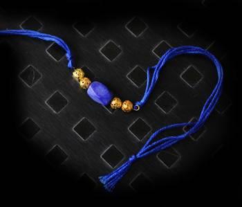 Blue And Gold Stone Rakhi