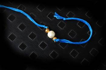 Pearl Work Blue Rakhi