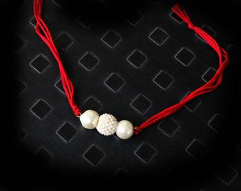 Pearl Work Red Rakhi