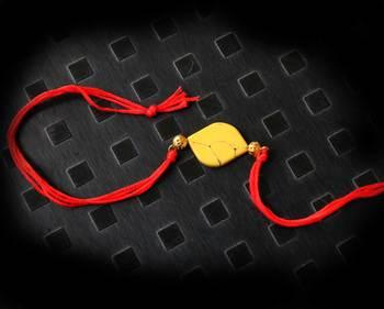 Red And Yellow Stone Work Rakhi