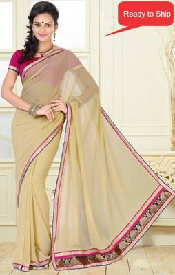 Simple look Beige Color Faux Georgette saree with blouse