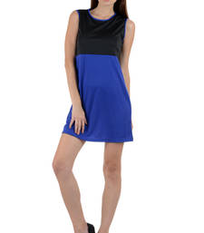 Buy Black and blue colored round neck dress western-wear online