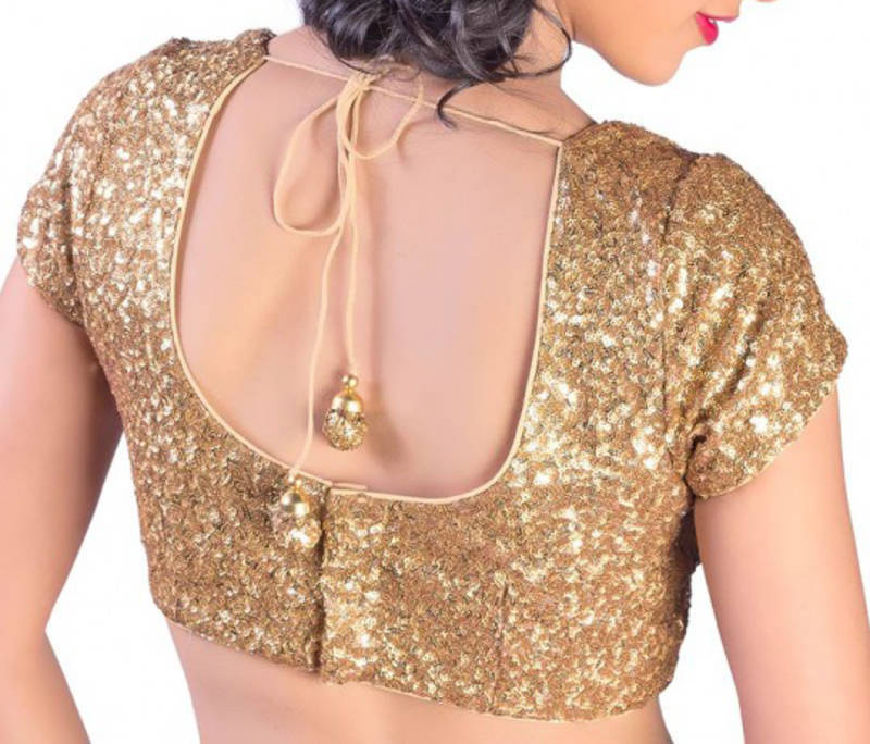 301ce6b75e0285 Capped Sleeves gold sequins blouse - Secret Wardrobe - 166275
