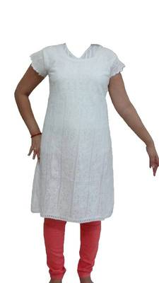 White Lucknowi Kurti with allover embroidery and crochet sleeves
