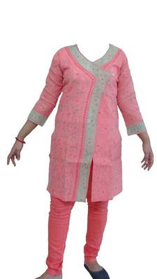 Lucknowi kurti in angarkha style - peach with multi color emb