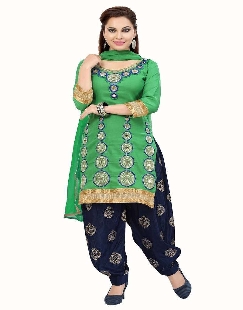 8c2f7ba2cc Pashimo Women's Green N Dark Blue Color Combo Set Of 2 Salwar Suit ...