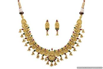 ANTIQUE GOLDEN STONE STUDDED TEMPLE THEME NECKLACE SET (RED GREEN)  - PCAN4039