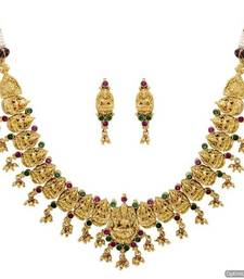Buy ANTIQUE GOLDEN STONE STUDDED TEMPLE THEME NECKLACE SET (RED GREEN)  - PCAN4039 Necklace online