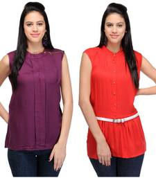 Buy Purple and red rayon tops party-top online