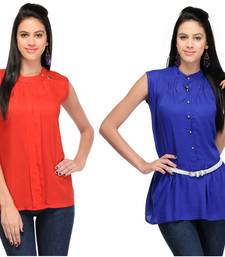 Buy Red and blue rayon tops party-top online