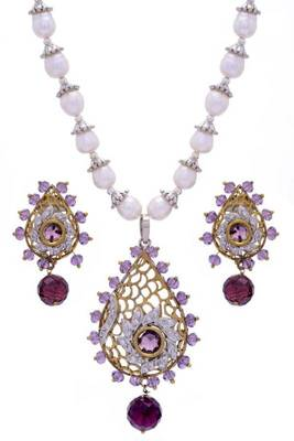 TRADITIONAL KAIRI SHAPED PENDANT SET WITH REAL PEARL MALA (VOILET)  - PCPS7022