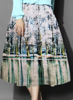 Multicolor printed crepe free size skirts