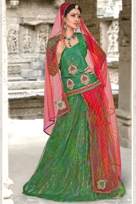 Green Coloured Cotton Rajasthani Poshak