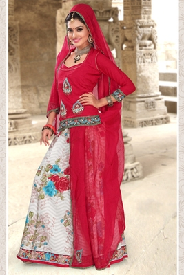 Red Coloured Cotton Rajasthani Poshak