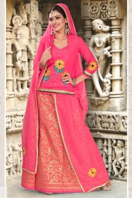 Peach Coloured Cotton Rajasthani Poshak