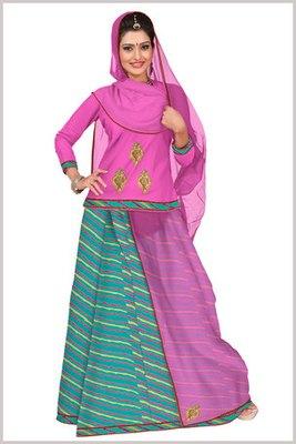 Pink and Sea Green Satin Printed Rajasthani Poshak