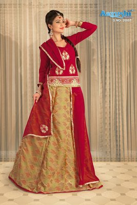 Lemon And Red Colour Chanderi Jacquard Cotton Rajasthani Poshak With Embroidery And Lace Patta Work