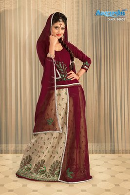 Beige And Maroon Colour Chanderi Rajasthani Poshak With Block Prints And Embroidery Work