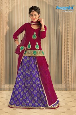 Stunning Blue And Maroon Colour Chanderi Rajasthani Poshak With Block Prints And Embroidery Work