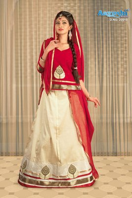 Lehenga choli Regal Off-White And Red Colour Banarasi Silk Rajasthani Poshak With Embroidery And Patch Work