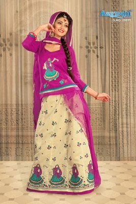Cute Cream And Rani Colour Pure Chanderi Rajasthani Poshak With Block Prints And Embroidery Work
