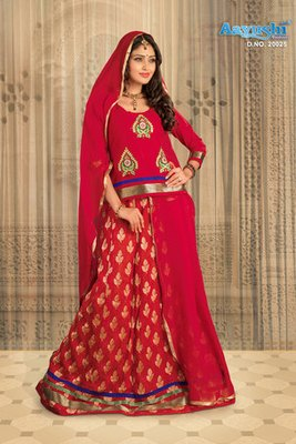 Buy Ruby Red Colour Banarasi Jacquard Rajasthani Poshak