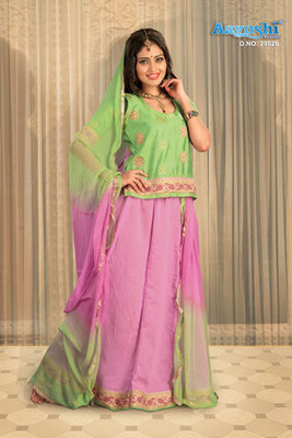 Baby Pink And Pastel Green Colour Cotton Satin Rajasthani Poshak