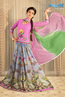 Match-less Multicolour Georgette Rajasthani Poshak Showing Digital Prints And Hand Work Embroidery