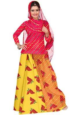 Orange and Yellow Chanderi Cotton Printed Rajasthani Poshak