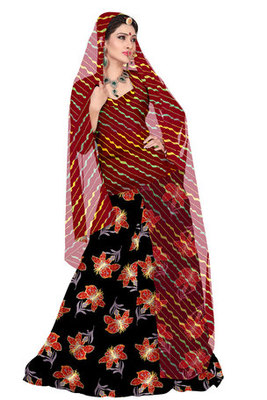 Maroon and Black Chanderi Cotton Rajasthani Poshak
