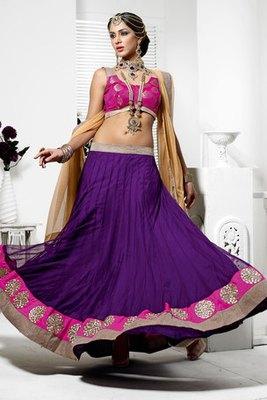 Beautiful Violet Resham Embroidered Net Lehenga Choli