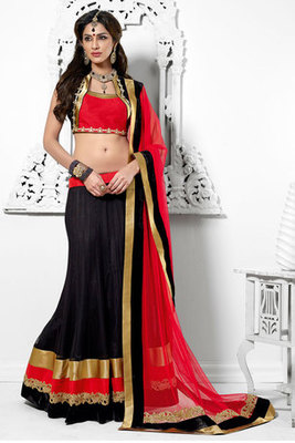Black Resham Embroidered Net Lehenga Choli