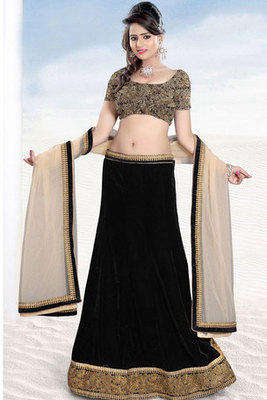 Black Velvet and Art Silk Lehenga Choli with Net Dupatta