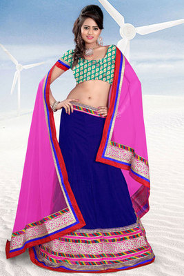 Blue and Green Embroidered Lehenga Choli with Net Dupatta