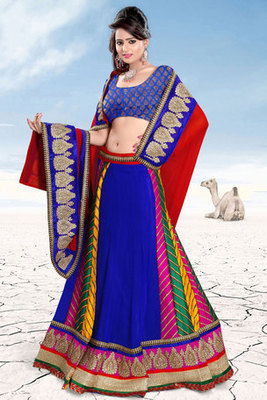 Blue Chiffon Art Silk Embroidered Lehenga Choli
