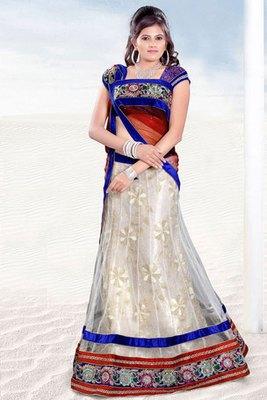 Off white and Blue Net Art Silk Lehenga Choli