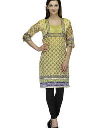 Yellow net woven stitched kurti