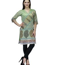 Green cotton woven stitched kurti