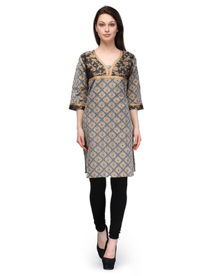 Grey cotton woven stitched kurti