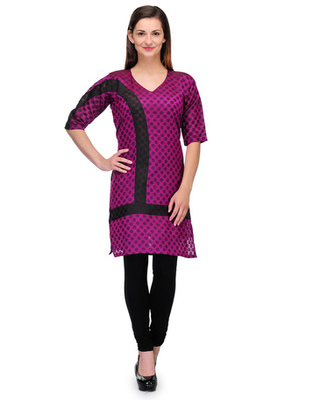 Purple cotton woven stitched kurti