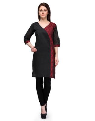 Black cotton woven stitched kurti