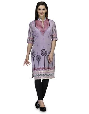 Purple cotton woven stitched kurti