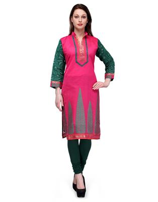 Rani pink cotton woven stitched kurti